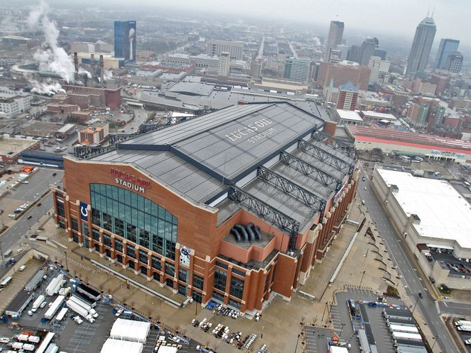 """Lucas Oil Stadium - home of the Colts opened in 2008. It's sometimes called """"The House that Manning Built"""" https://www.fanprint.com/licenses/indianpolis-colts?ref=5750"""