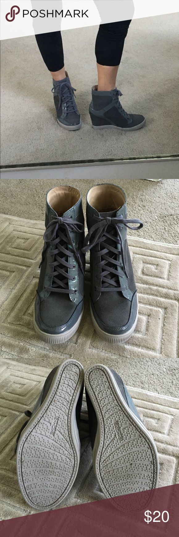 """Skecher  wedge tennis shoe Grey lace up . 4"""" heel . Suede and patent leather.  I am reposhing  too high incline for me . Great condition ! I never wore and previous owner must not of worn much . Skechers Shoes Wedges"""