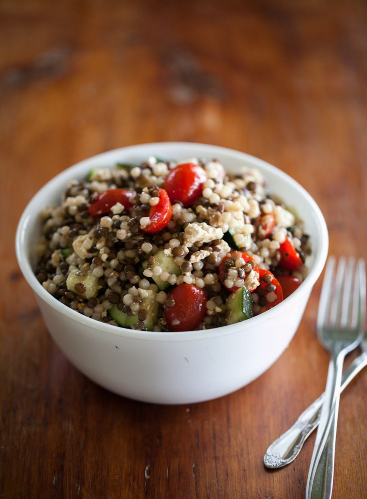 Couscous and Lentil Salad (Cherry Tomatoes, Cucumber, Green Onions, Honey, Feta) | Naturally Ella
