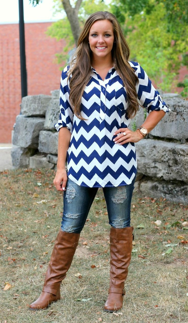 The Pink Lily Boutique - Navy Chevron Blouse, $32.00 (http://thepinklilyboutique.com/navy-chevron-blouse/)