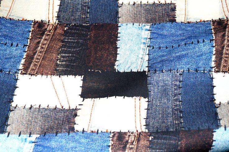 Interieurstof katoen digitaal 1236-008 Jeansstukken