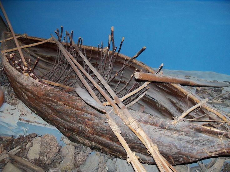 Reconstructed Yamana bark canoe