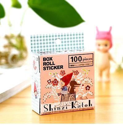 S036 poco rojo caballo campana caja rollo etiqueta (100 piezas) Shinzi Kato, sistema de la caja de la etiqueta engomada, etiquetas engomadas de planificador, suministro de papelería, scrapbooking