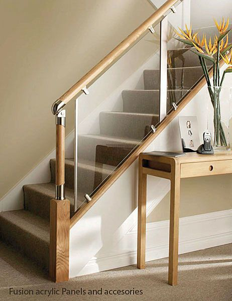 Glass and wood stair railing