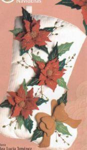 bota blanca con ponsetias rojas 35 bs