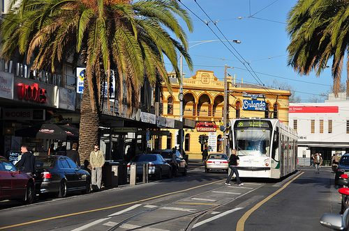 Acland Street St Kilda. I like the restaurants and the atmosphere of St Kilda