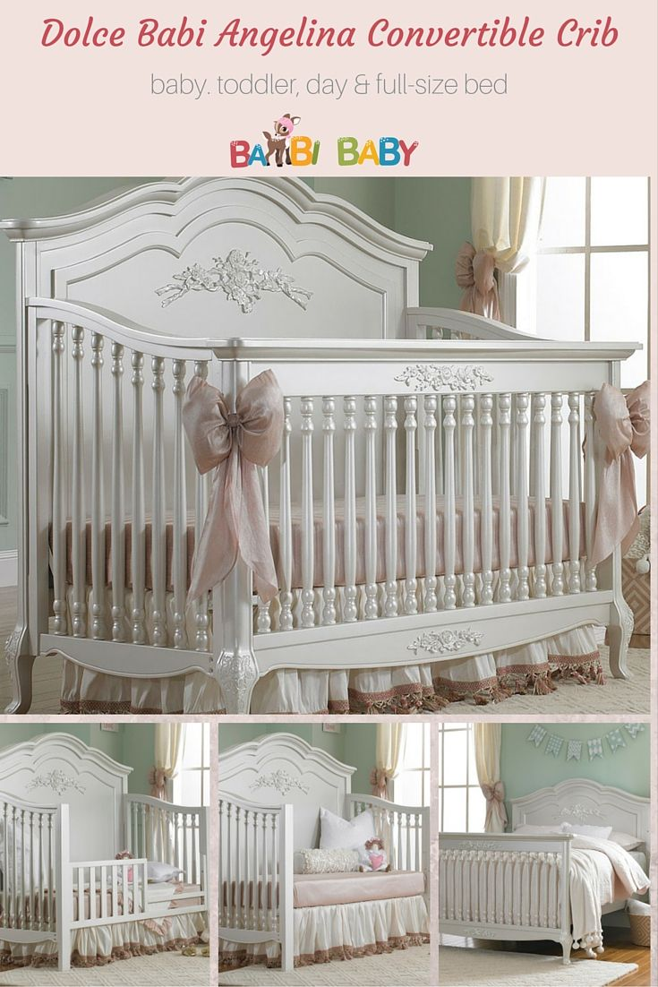 Dolci Babi Angelina Convertible Crib - baby #crib, toddler bed with rail, daybed and full-sized bed. Perfect if you want a white crib for your new baby girl!