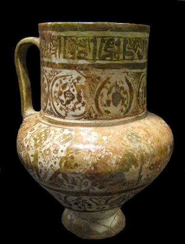 Seljuk Lustre Painted Jug -  Origin: Central Asia Circa: 1200 AD  Collection: Islamic Art Medium: Fritware