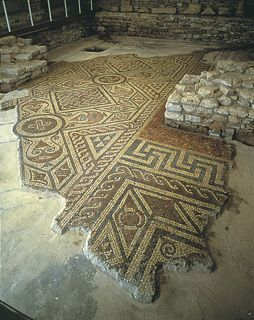 A large fragment of the mosaic floors, displayed on site of North Leigh Roman Villa in England