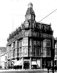 """Built in 1889, the Pierce-Morse block was designed by architects Comstock & Trotsche, who were known for building the finest buildings of their time, the Villa Montezuma among them. Their office was housed in this building and E.W. Morse also occupied a suite of rooms there. To quote the Golden Era, September 1889 issue """"It is 5 stories and great basement and lofty tower, is of metropolitan architecture and appearance."""" Sadly, it was torn down in the 1950s."""