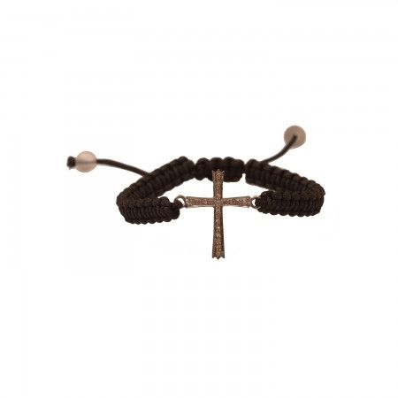 The classic cross symbol is studded with solitaires to make this a truly special bracelet.