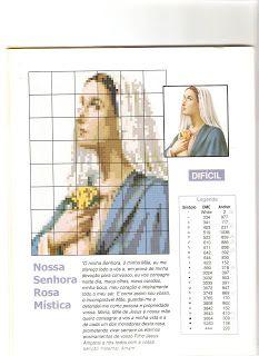 Gráficos ponto cruz Drica: Nossa Senhora da Rosa Mística para bordar