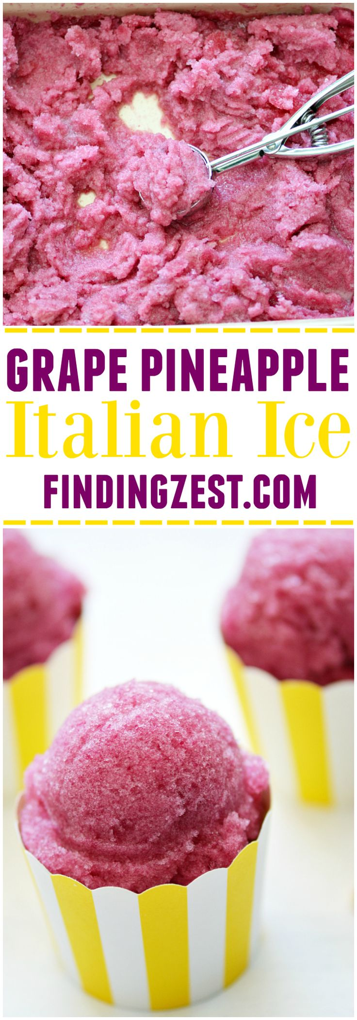 Only three ingredients are needed to make this Grape Pineapple Italian Ice! With no added sugar, this treat is so refreshing and an easy snack or dessert!