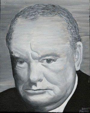 8 X 10 Acrylic Portrait Painting of Sir Winston Churchill
