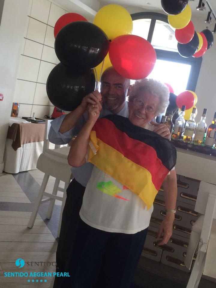 German Unity Day celebration at Sentido Aegean Pearl Hotel. General Manager Mr. Yiannis Katsoulis and our loved Grandma Renate during the preparations ~ 3 October 2015. https://www.facebook.com/SentidoAegeanPearl/photos/pb.198234770217861.-2207520000.1446397017./961536773887653/?type=3