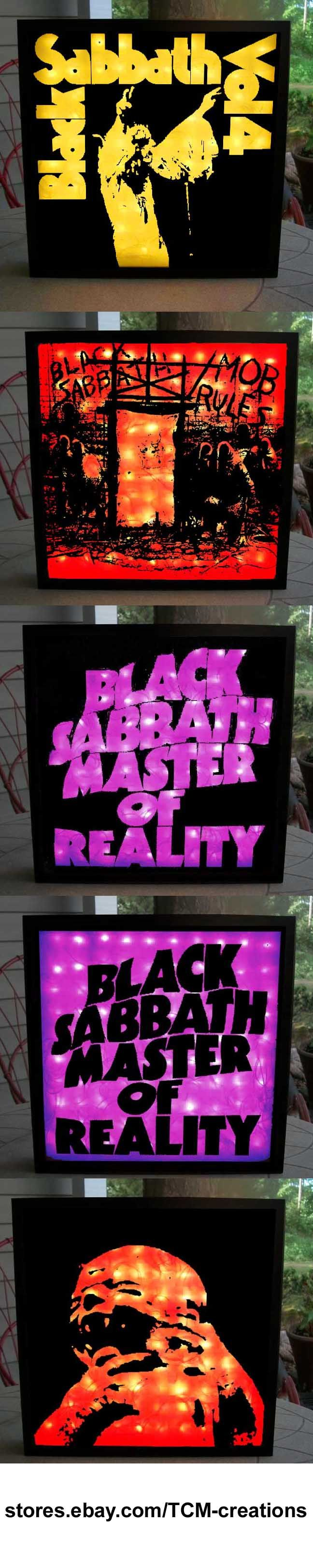 Back Sabbath Shadow Boxes with LED lighting. Ozzy Osbourne, Tony Iommi, Geezer Butler, Bill Ward, Ronnie James Dio, Paranoid, Master Of Reality, Vol. 4, Sabbath Bloody Sabbath, Sabotage, Technical Ecstasy, Never Say Die!, Heaven and Hell, Mob Rules, Born Again, Seventh Star, The Eternal Idol, Headless Cross, Tyr, Dehumanizer, Cross Purposes, Forbidden, 13.