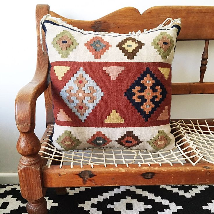 This Egyptian Kilim cushion cover is named after the Slavic deity Zeme, the goddess of earth. Believers would seal an oath by touching the earth and upon their death, confess their sins into a hole in the ground.  The muted earth tones on this cushion is reminiscent of the terrain I imagine they idolized.  58cm x 54cm  Free delivery in South Africa