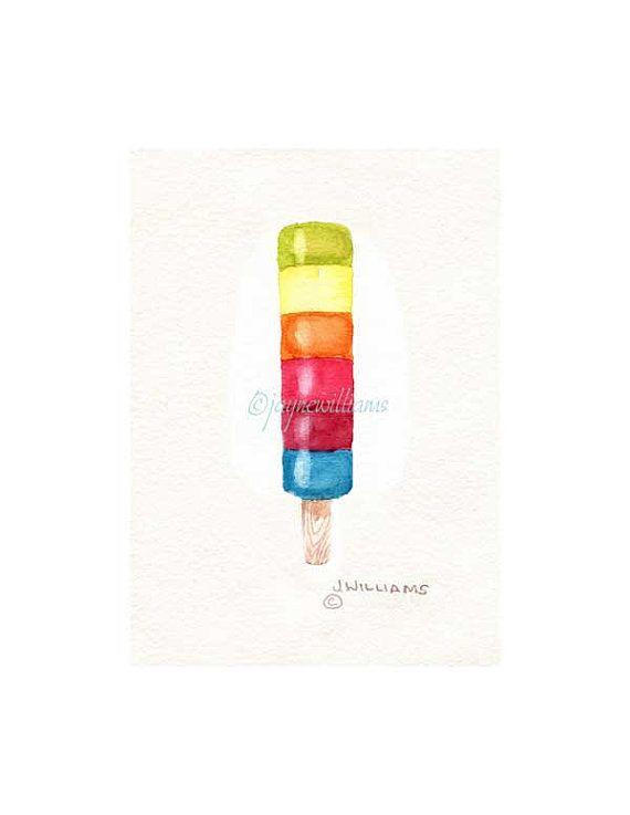 Popsicles - chill time -original watercolor art print - rainbow/cherry/ banana/ creamsicle