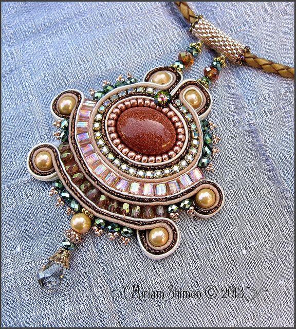 Gold Stone Soutache pendant by Cielo Design
