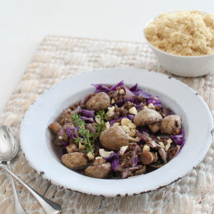 Mushroom Lentil & Red Cabbage Casserole.  Click Visit for the recipe on our blog.