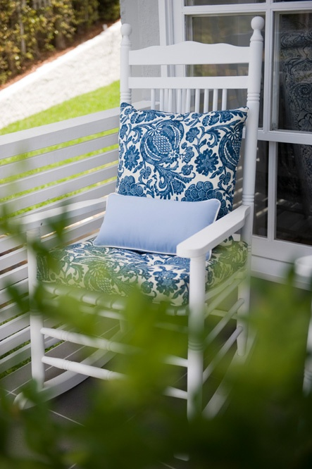 Front Porch   Iu0027m Thinking White Rocking Chairs With Navy And Lime Green  Pattern