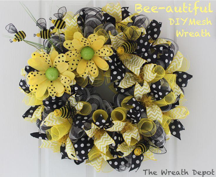 So cute!! Spring Mesh Deco Ribbon Wreath Tutorial