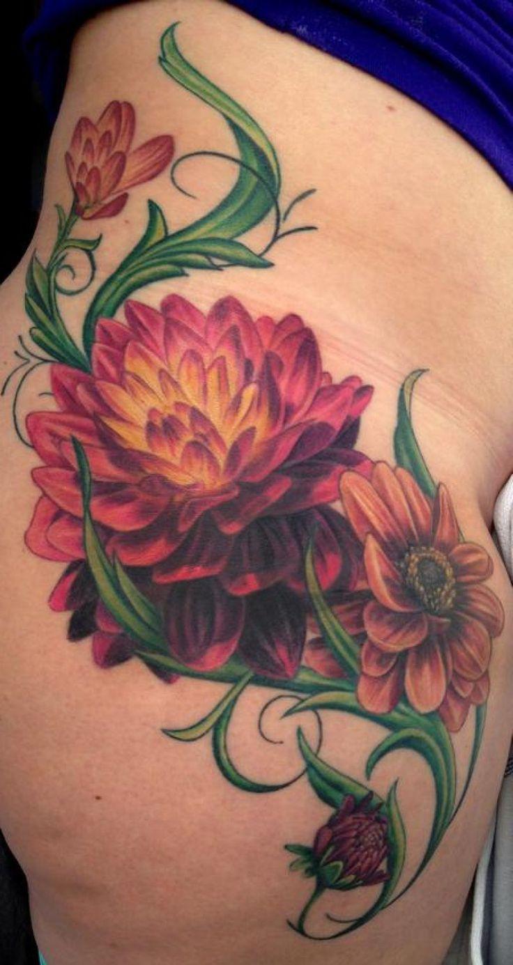 about Dahlia Flower Tattoos on Pinterest   Cobra tattoo Dahlia tattoo ...