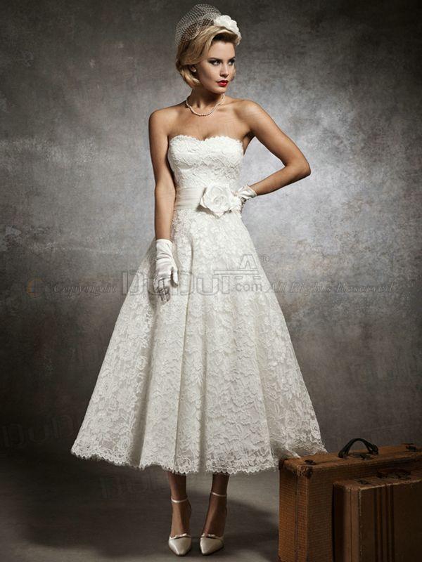 Princess Lace Strapless Tea-length Hall Appliques Sash Flower Wedding Dresses, wedding gowns, bridal dresses, bridal gowns