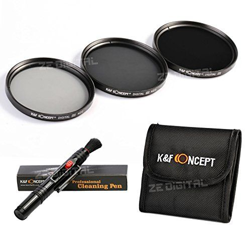 K&F Concept 67mm Slim ND Filterset Graufilter ND2 ND4 ND8 Filter Set Schutzfilter Neutrale Dichte Objektiv Zubehör Set Kamera Zubehör für Canon 7D 700D 600D 70D 60D 650D 550D Nikon D7100 D80 D90 D7000 D5200 D3200 D5100 D3200 D5300 DSLR Kamera + Reinigungspinsel für Objektive + Filtertasche - http://kameras-kaufen.de/k-f-concept/k-f-concept-67mm-slim-nd-filterset-graufilter-nd2