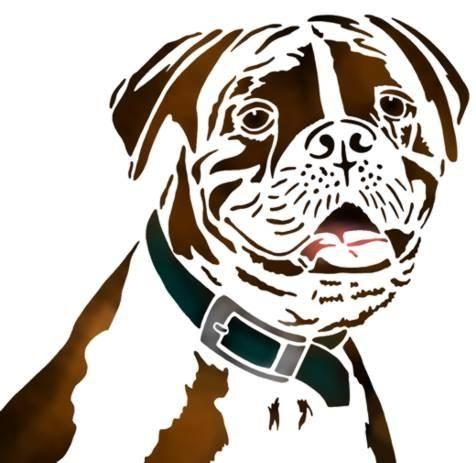 t te de chien boxer scrap pochoir chien et boxer chien. Black Bedroom Furniture Sets. Home Design Ideas