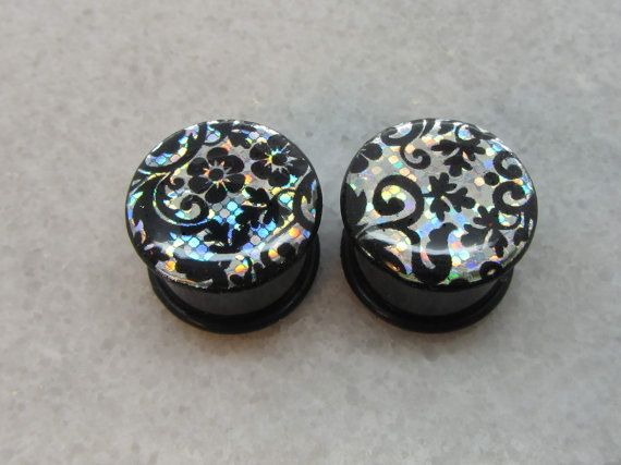 Black Flower Holographic Plugs Handmade Floral Gauges Tunnels Flesh Tunnel Expander Large Gauge Earrings