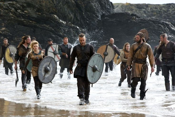 Floki (Gutaf Skarsgard, from left), Lagertha (Katheryn Winnick), Ragnar Lothbrook (Travis Fimmel, center) and Rollo (Clive Standen) come ashore.