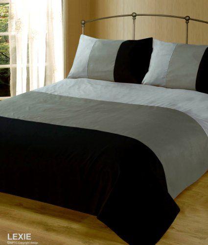 Double Bed Duvet Quilt Cover Bedding Set Lexie Black Grey Plain 3 Tone Intimates