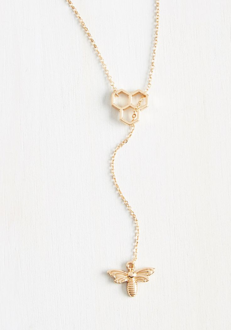 Truth Bee Told Necklace - Gold, Casual, Beach/Resort, Quirky, Spring, Exclusives