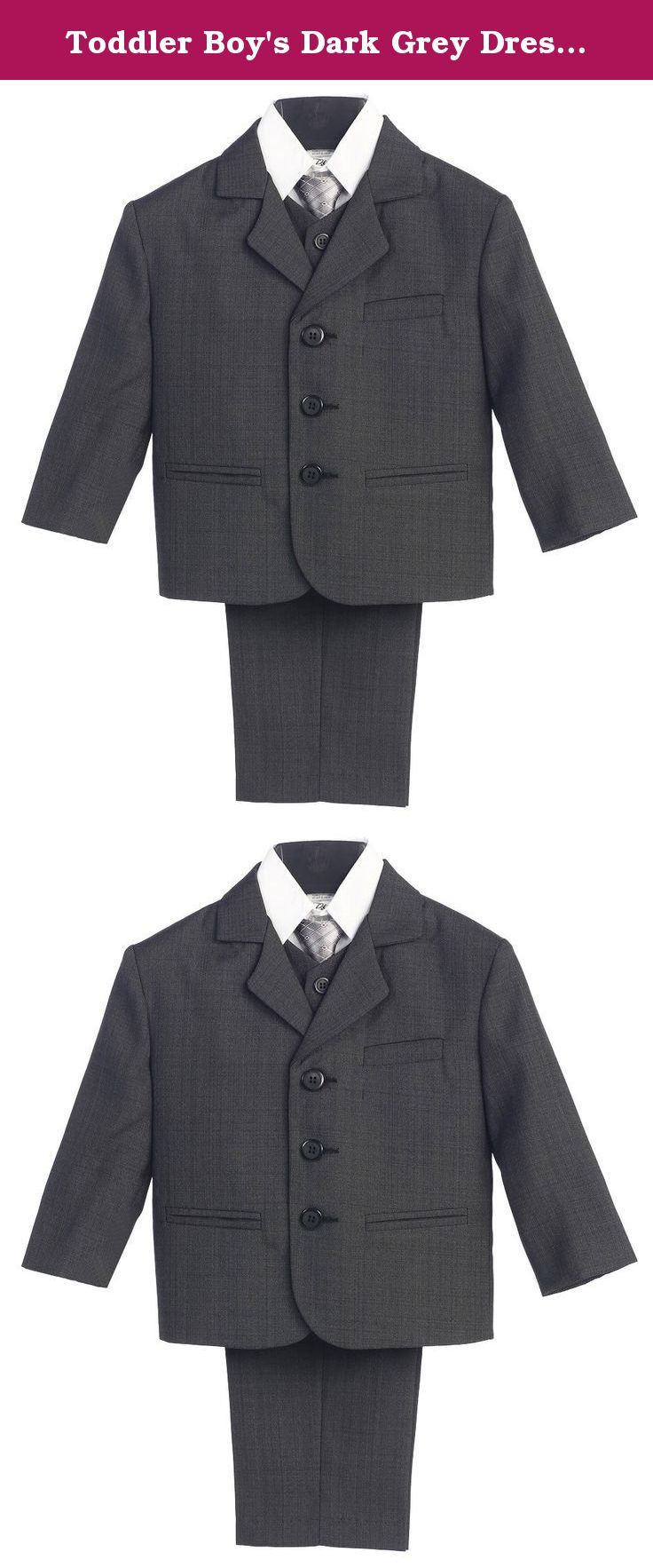 Toddler Boy's Dark Grey Dress Suit with Shirt Vest & Tie (5 Piece) - 2. The 5-Piece set includes a jacket with matching vest and pants, a white shirt and coordinating tie. Perfect for any special occasion. Infant, Toddler, Boy's Sizes (M-14) [Husky 8-20 in Black, Dark Grey, Light Grey, Navy, White]. (Suit: 100% Polyester / Shirt: 65% Polyester-35% Cotton). Made in the USA. Infant Sizes: M (6-9 Months), L (9-12 Months), XL (12-18 Months). Toddler Sizes: 2T, 3T, 4T. Boys Sizes: 5, 6, 7, 8…