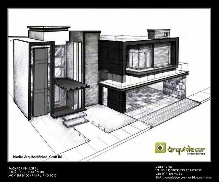 Boceto a l piz de dise o arquitect nico para residencia im for Diseno de casa habitacion