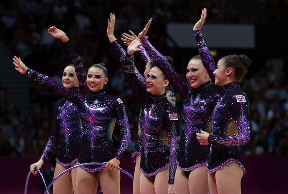 The Great Britain team competes during the Rythmic Gymnastics Group All-Around competition on Day 14 of the London 2012 Olympic Games at Wembley Arena on August 10, 2012