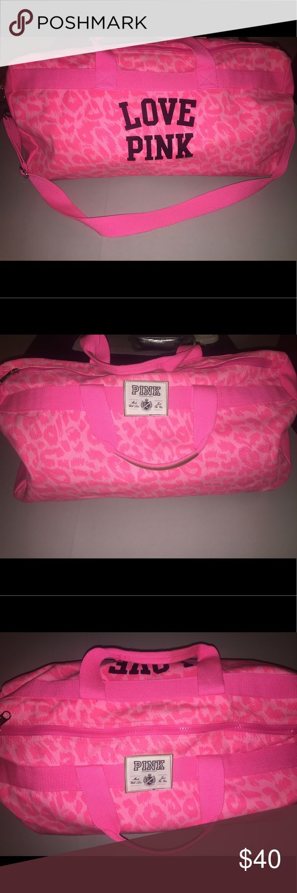 VS Pink Leopard Print Duffle Bag VS Pink Duffle Bag. Hot pink with leopard print. Used once for weekend get away, small enough to be a carry on for flight. Has some hardly noticeable marks, included pics. Really cute Bag! PINK Victoria's Secret Bags Travel Bags