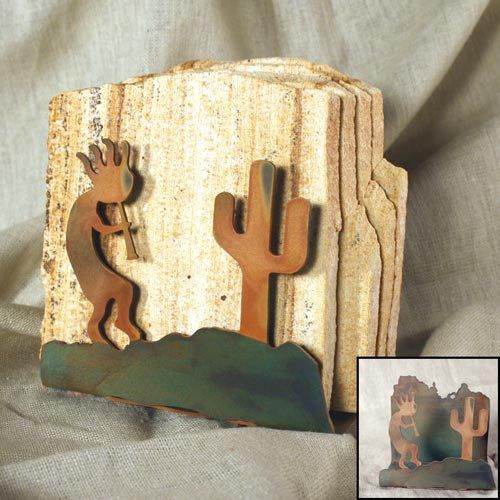 Natural Sandstone Coasters w/ Organic Patina Holder - Kokopelli by stonegifts on Etsy