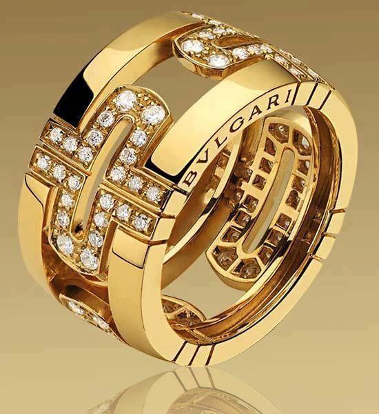 bulgari parentesi large band ring in yellow gold with demi pav diamonds