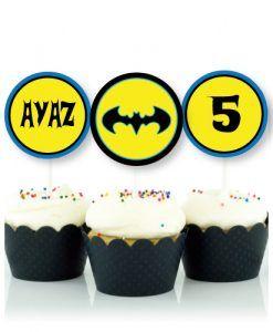 Batman Parti Malzemesi 10 Adet İsimli Doğum Günü Kürdan Süs