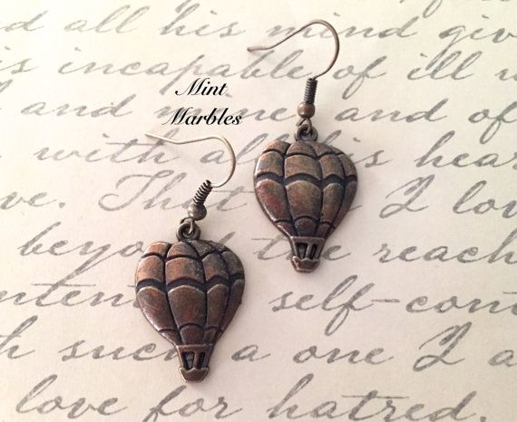Hot Air Balloon Dangle Earrings. Whimsical In by MintMarbles