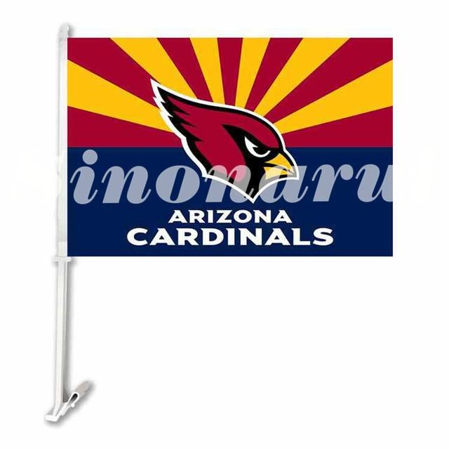 Arizona Cardinals Colorful Car Flag Double Sided 29*45CM With The Pole