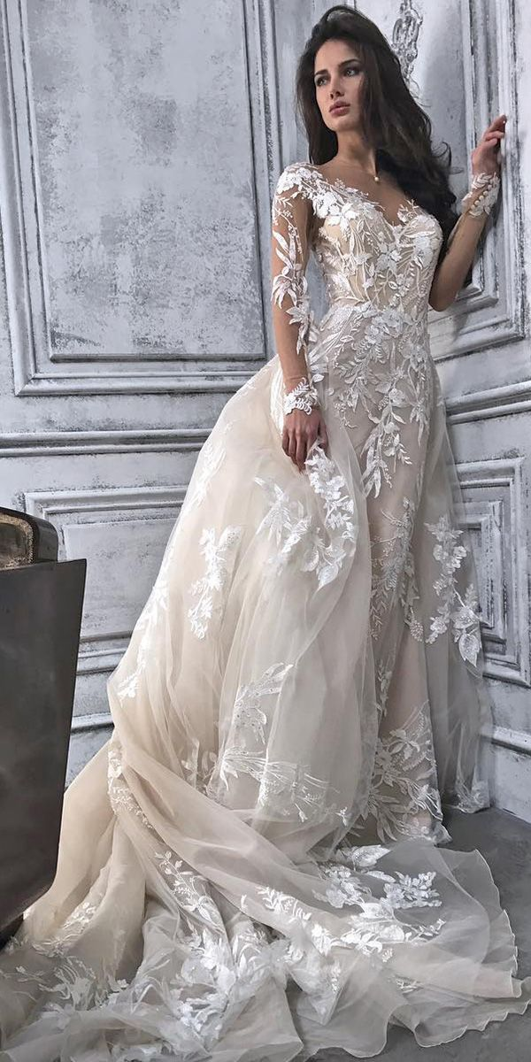 18 Demetrios Wedding Dresses For Charming Style ❤️ demetrios wedding dresses with long illusion sleeves lace with overskirt 2018 ❤️ Full gallery: https://weddingdressesguide.com/demetrios-wedding-dresses/ #bridalgown #weddingdresses2018 #wedding #bride