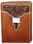 (TD1146322W2) Western Tooled Brown Leather Tri-Fold Wallet by Wrangler
