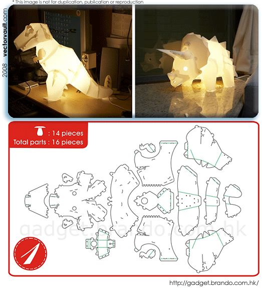 do-it-yourself dinosaur lamps