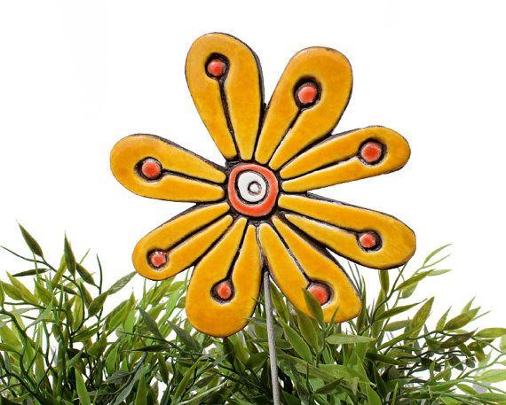 Flower garden art - plant stake - garden marker - garden decor - flower ornament - ceramic flower - abstract - yellow on Etsy, $27.09