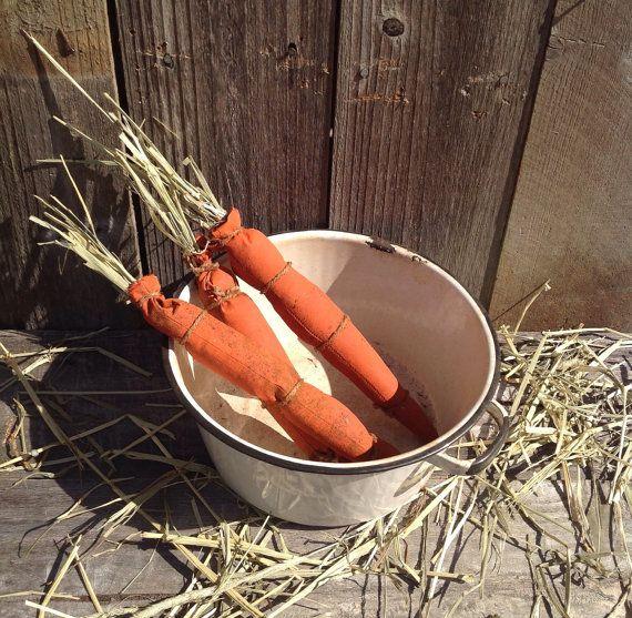 Primitive Carrots Easter Spring Set of 6 by Primigram on Etsy