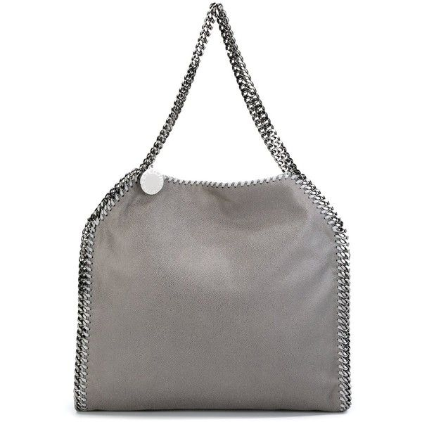 Stella McCartney Falabella tote (€880) ❤ liked on Polyvore featuring bags, handbags, tote bags, grey, grey leather handbags, leather tote handbags, faux leather purses, leather handbags and gray leather tote