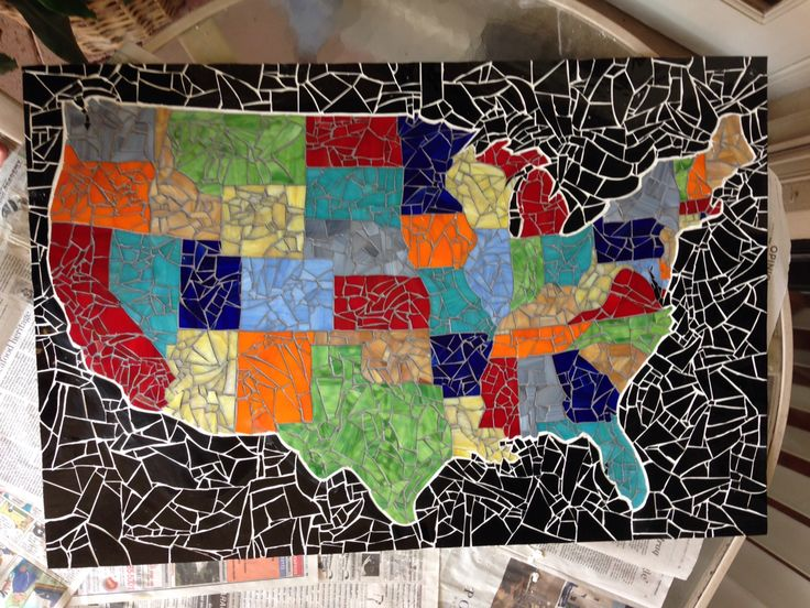 """Stained Glass U.S. Mosaic Map  34"""" by 24"""""""